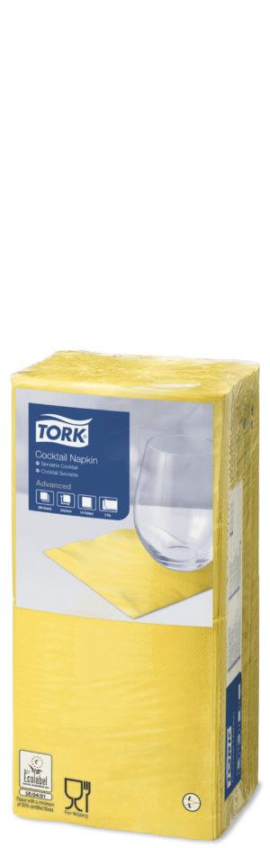 Tork_2-kihilised_kokteilisalvrätikud_Kollane_1/4_200tk